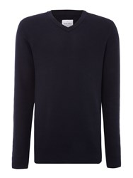 Peter Werth Men's Moore Zig Zag Knitted Cotton Jumper Navy
