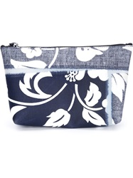 Luisa Cevese Riedizioni Hibiscus Print Make Up Bag Blue