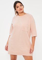Missguided Plus Size Nude Oversized Pocket Front Sweater Dress