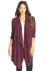 Women's Barefoot Dreams Drape Front Cardigan Mulberry