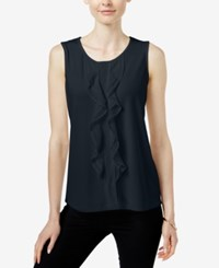 Charter Club Sleeveless Ruffled Top Only At Macy's Deepest Navy
