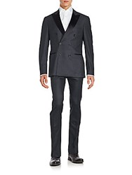 Brunello Cucinelli Double Breasted Wool Blend Suit Charcoal