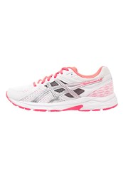 Asics Gelcontend 3 Cushioned Running Shoes White Hot Coral Silver
