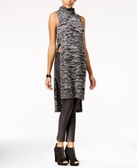 Material Girl Juniors' Side Slit Turtleneck Tunic Sweater Only At Macy's Grey