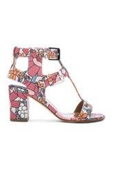 Laurence Dacade Leather Diane Heels In Pink Floral
