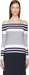 Rosetta Getty White And Navy Off The Shoulder Sweater