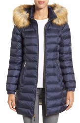 Kate Spade Women's New York Bow Back Down Coat With Faux Fur Trim