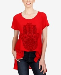 Lucky Brand Graphic Tunic Haute Red