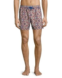 Luciano Barbera Floral Print Swim Trunks Dark Pink