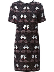 Holly Fulton Printed Shift Dress Black