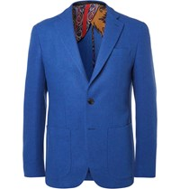 Etro Blue Slim Fit Wool Blend Blazer Blue