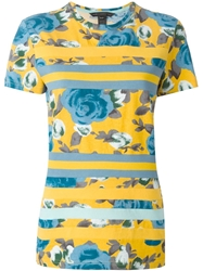 Marc By Marc Jacobs Striped Floral Print T Shirt Yellow And Orange