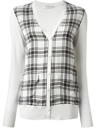 Equipment Loose Fit Plaid Front Cardigan White
