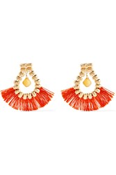Rosantica Atena Fringed Gold Tone Calcite Earrings Orange