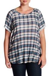 Want And Need Double Scoop Plaid Tee Plus Size Blue