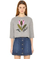 Red Valentino Intarsia Knit Wool Blend Sweater