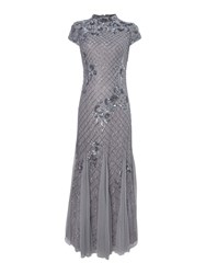 Adrianna Papell Mandarin Collar Beaded Gown Silver