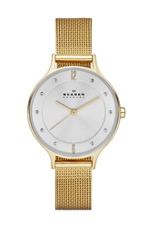 Skagen 'Anita' Crystal Index Mesh Strap Watch 30Mm Gold