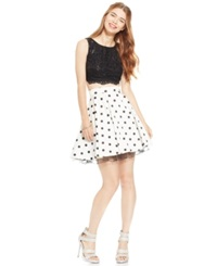 City Triangles Juniors' Sequin Lace Top And Printed Skater Skirt Set Black White