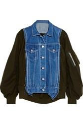 Sacai Denim Paneled Wool Twill Bomber Jacket Army Green