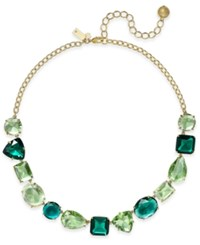 Kate Spade New York Gold Tone Green Crystal Collar Necklace