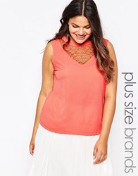 Lovedrobe Plus Top With Crochet Insert Peach Pink