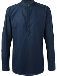 E. Tautz Slim Fit Grandad Collar Shirt Blue