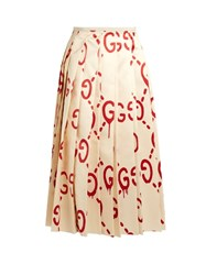 Gucci Ghost Pleated Silk Cady Skirt Cream Multi