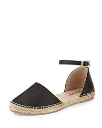 Neiman Marcus Made In Spain Sabrina Leather Espadrille Flat Black
