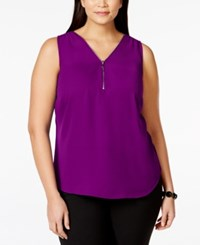 Inc International Concepts Plus Size Zip Neck Sleeveless Shell Only At Macy's Purple Paradise