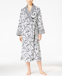 Charter Club Embossed Scroll Long Robe Only At Macy's Black Scroll