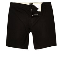 River Island Mens Black Linen Slim Fit Chino Shorts