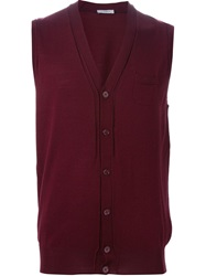 Paolo Pecora Sleeveless Cardigan Red