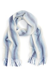 Nordstrom Women's Striped Cashmere Scarf Blue Combo