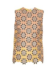 Jonathan Saunders Jessica Guipire Lace Sleeveless Top Yellow Multi