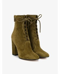 Gianvito Rossi Finlay Lace Up Suede Boots Grey Olive Denim