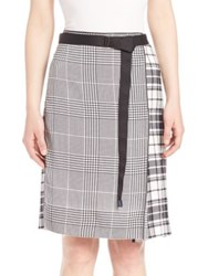 Calvin Klein Runway Houndstooth And Plaid Silk Skirt Black Multi