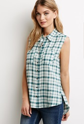 Forever 21 Vented Tartan Plaid Shirt Ivory Green