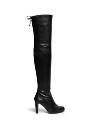 Stuart Weitzman 'Highland' Stretch Leather Thigh High Boots Black