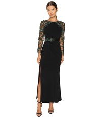 Marchesa Fitted Stretch Crepe Gown With Crystal Embroidered Raglan Sleeves And Beaded Satin Belt Black