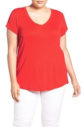 Sejour Plus Size Women's Short Sleeve V Neck Tee Red Bloom