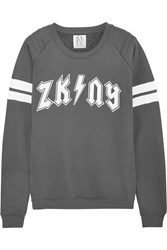 Zoe Karssen Zk Ny Printed Cotton Blend Terry Sweater Gray