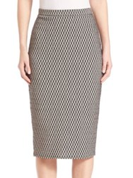Max Mara Fitted Houndstooth Pattern Skirt White Black