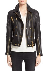 Burberry Women's Brit 'Colefield' Double Breasted Leather Jacket Black