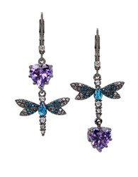 Betsey Johnson Cubic Zirconia Hematite Tone Dragonfly Double Drop Mismatch Earrings Multi