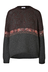 Brunello Cucinelli Heavy Knit Cashmere Pullover With Stripe