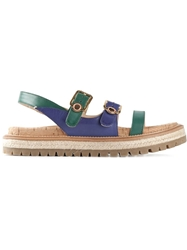 L'autre Chose Buckled Strappy Sandals Blue