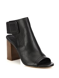 Vince Faye Open Toe Leather Booties Truffle