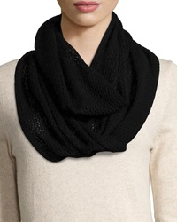 Neiman Marcus Cashmere Pointelle Infinity Scarf Black
