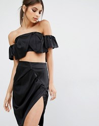 Kendall And Kylie Ruffle Bandeau Top Black